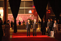 Mr Chee-Hwa Tung, officiating guest and Sir Run Run Shaw, founder of the Shaw Prize, arrive at the Grand Hall
