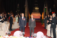 Mr. Henry Tang officiating guest and Sir Run Run Shaw, founder of the Shaw Prize, arrive at the Grand Hall