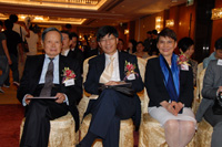 Professor Chen-Ning Yang, Professor Kenneth Young and Mrs Mona Shaw at the press conference.