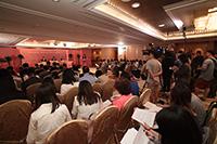傳媒機構採訪2018年邵逸夫獎公佈得獎者的消息<br />