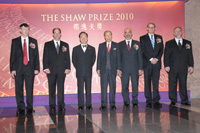 Mr Donald Tsang and Sir Run Run taking group photo with Laureates 2010 at the Award Presentation Ceremony